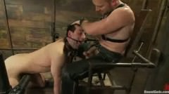 Master In Leather Gets Blowjob From Gagged Gay