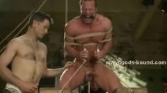 Strong Gay Chest Is Bound In Thick Rope