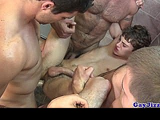 Gay Bathroom Orgy With Horny Hunks