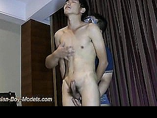 Handcuffed Asian Lean Boy Got Handjob And Blowjob