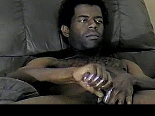 Amateur Ebony Hunk Tugging On His Rock Hard Cock