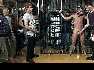 Tied To Cage Gay Whipped In Public By Strangers