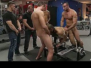 Bound Gay Gangbanged In Leather Shop In Bench