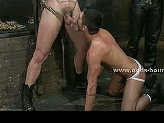 Gay Model Force To Suck Cock Before Getting Filled In Fetish Bondage Sex With Rough Man