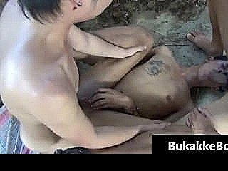 Asian Guy Gets His Face Jizzed