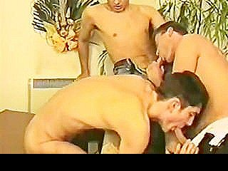 Threeway Hardcore Pounding With Horny Dilf And Two Twinks