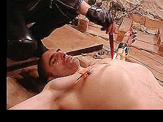 Tied Up Gay Slave Gets Cock Pumped And Ass Fucked