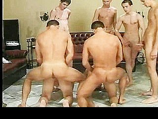Eight Twinks Share Dicks At Fuck Party