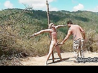 Tied To A Cross Gay Gets Dick Jerked Off And Vibed Outdoor