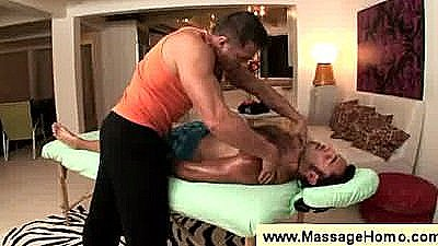 Masseur Looks At Clients Erection