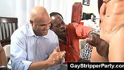 Public Facial On Slutty Guy During Gay Stripper Party