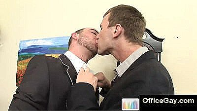 Guys In Suits Start Kissing At Office