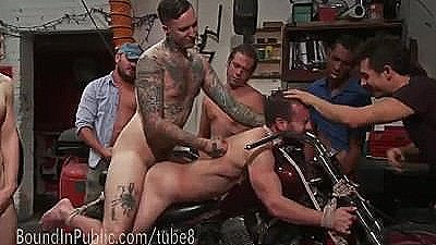 Hot Mechanic Publicly Gangfucked