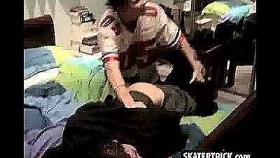 Skater Hunk Getting Held Down And Taking A Spanking