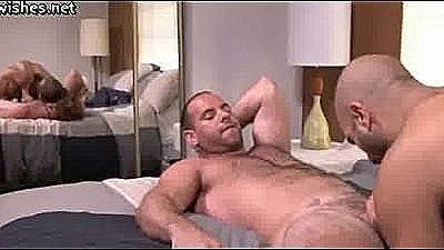 Muscle Gay Rubbing His Cock And Doing Blowjob
