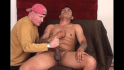 Divorced, Hung, Latino`s First Handjob By Another Dude.