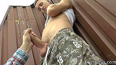 Czech Boy With Huge Cock Gets Outdoor Handjob