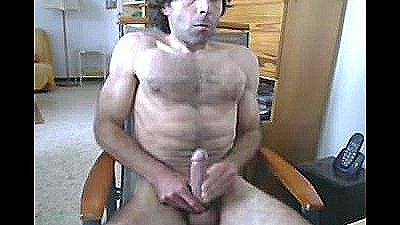 Athletic Hairy Man Jerking Off On C2c Webcam