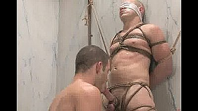 Wolf Hudson Gives Christian Owen A Hard Bondage Fuck In The Shower.