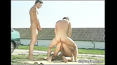 Brunette Gay Suck Two Pricks Outdoors