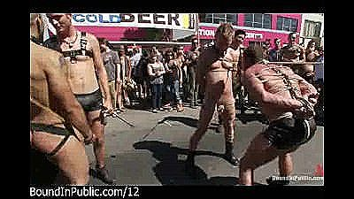 Bound Gays Punished In The Streets At Gay Parade