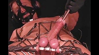 Sounding Cock While Bound In Heavy Metal
