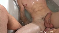 Muscular Boy Gets Handjob In The Bath